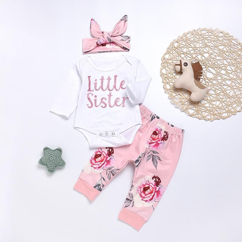 Girl baby long sleeve floral suit