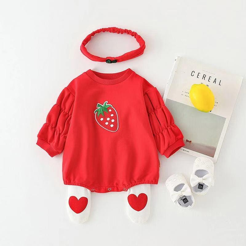 Baby Girl Long Sleeve Fruit Jumpsuit and Headband Two Piece Set