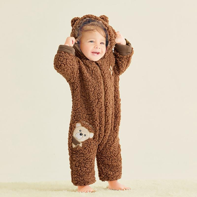 Cute bear shape long sleeve jumpsuit