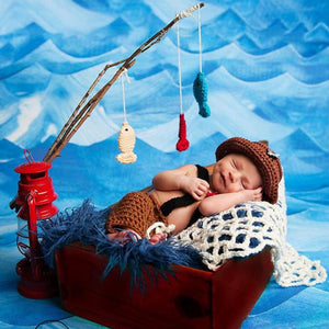 Fisherman Design Baby Photography Props Overalls and Hat Set