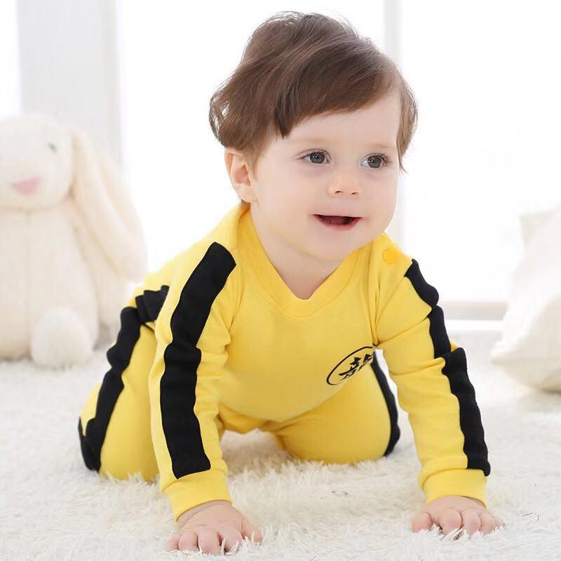 Baby Solid Long-sleeve Chinese Kungfu Style Jumpsuit