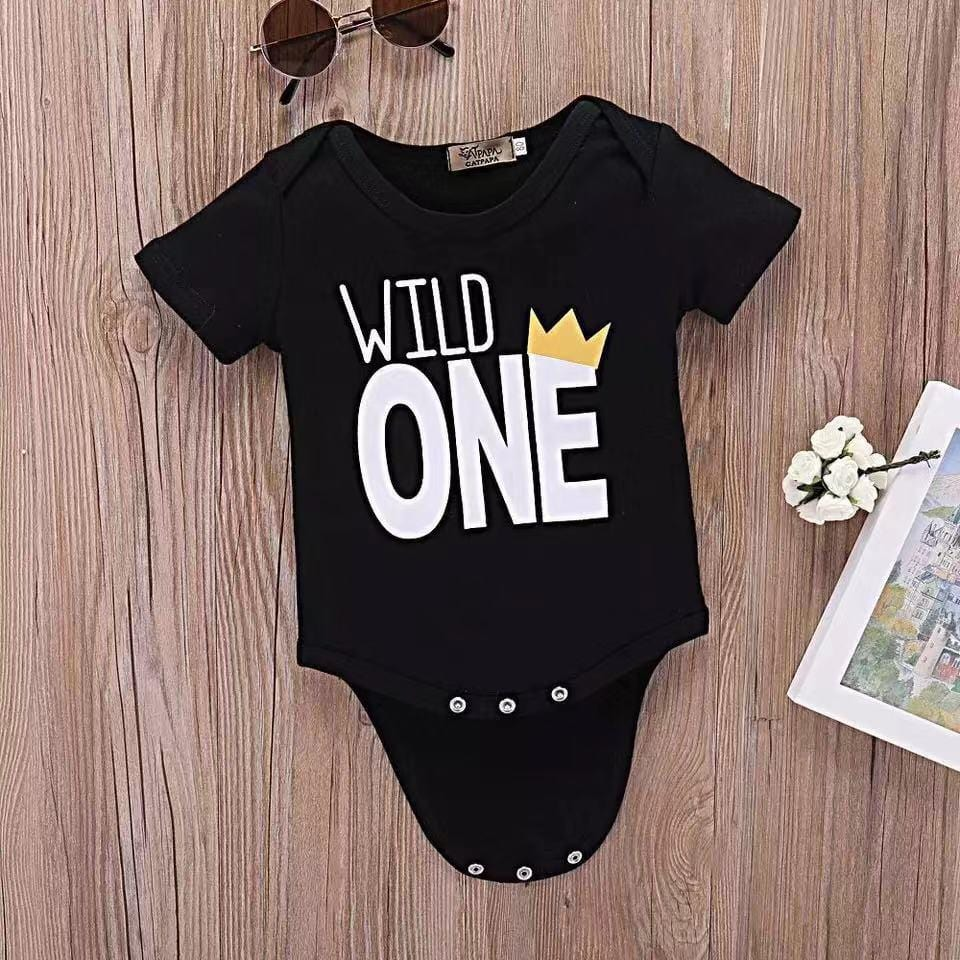Baby short sleeve letter print tight jumpsuit