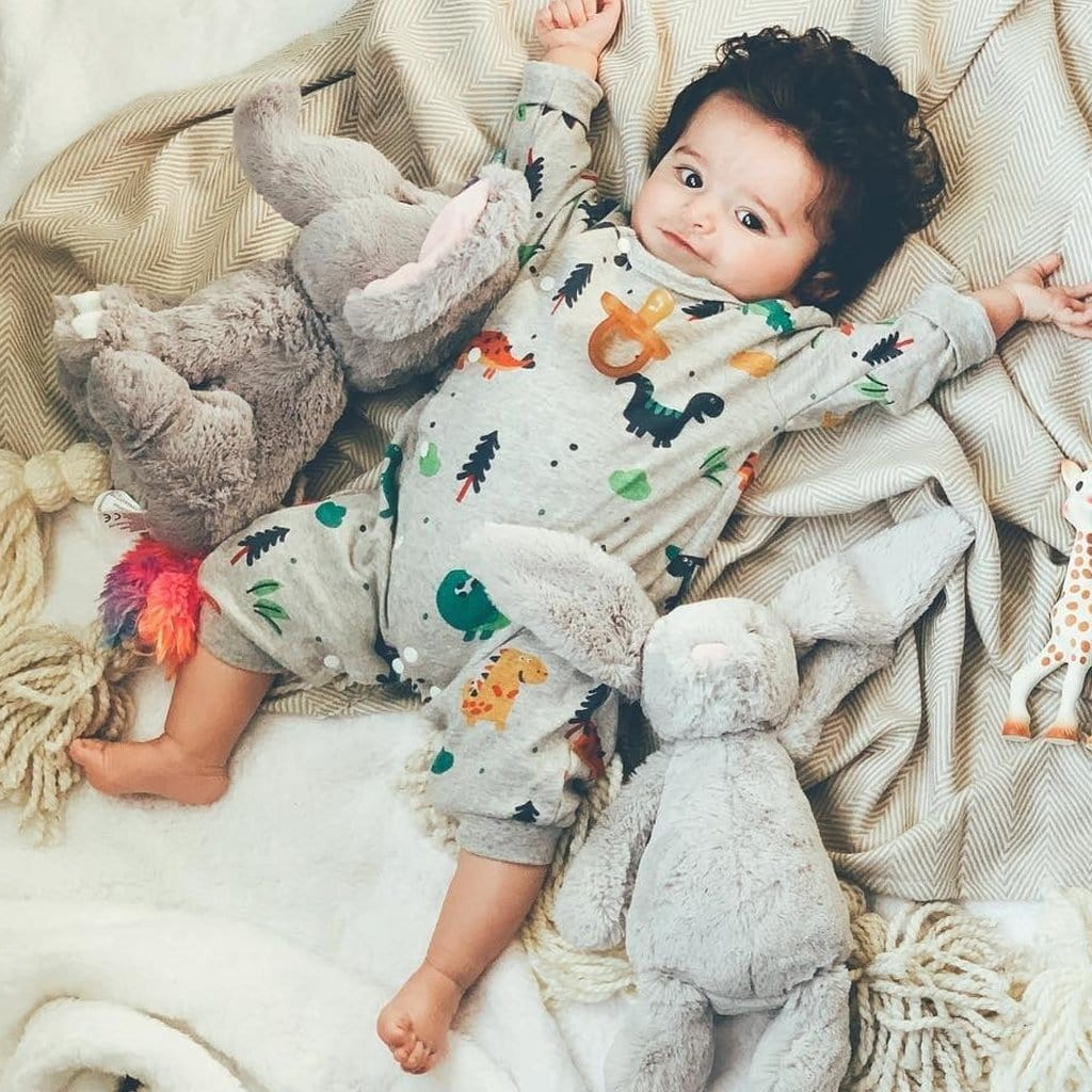 Cute little dinosaur baby long sleeve jumpsuit