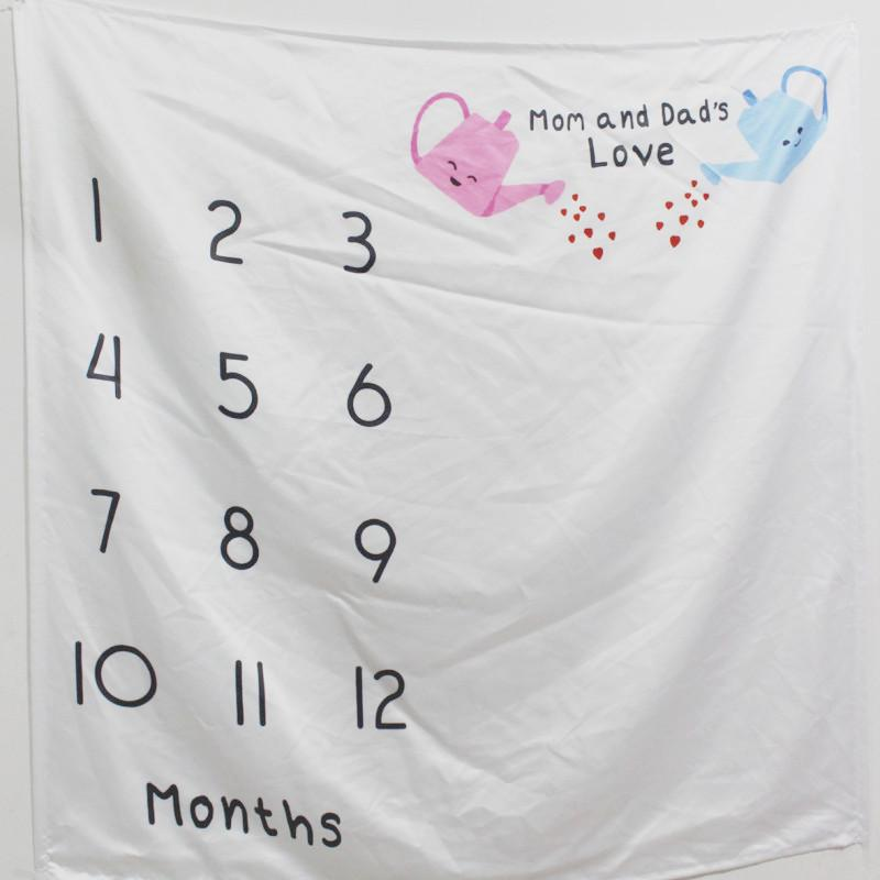 """Mom and Dad's Love"" Print Baby Milestone Blanket Photography Background Prop"