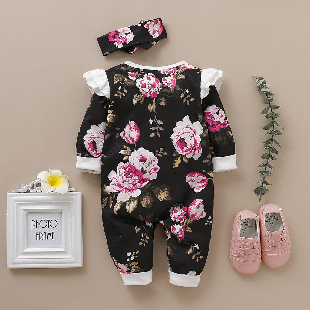 Baby Girl Floral Allover Long-sleeve Jumpsuit and Headband