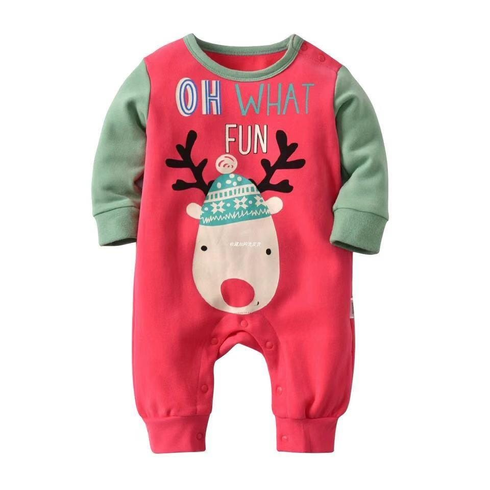 Christmas baby cute wind long sleeve cotton jumpsuit