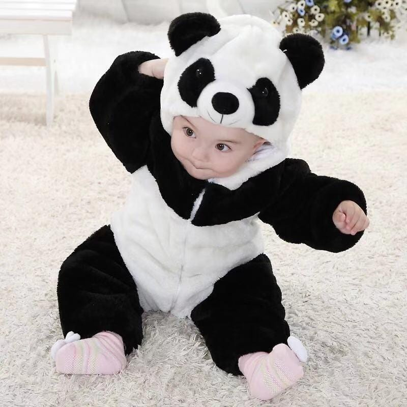 Baby Panda Plus Velvet Covered Jumpsuit