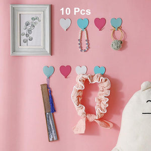10 PCS - Peach Heart Wall Adhesive Hook-Homeware