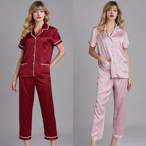 Silk short sleeve pajamas
