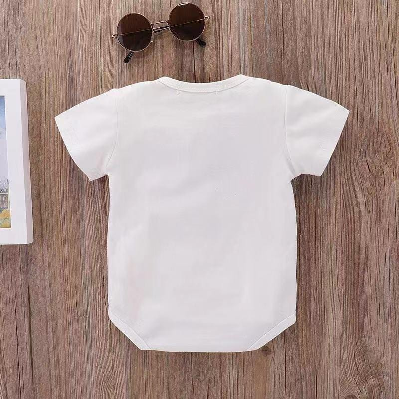 Baby cute sunglasses print tight jumpsuit