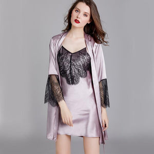 Silk sexy lace nightdress set