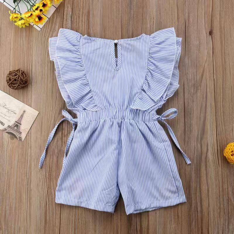 Toddler Girls Striped Embroidery Ruffle-sleeve Romper