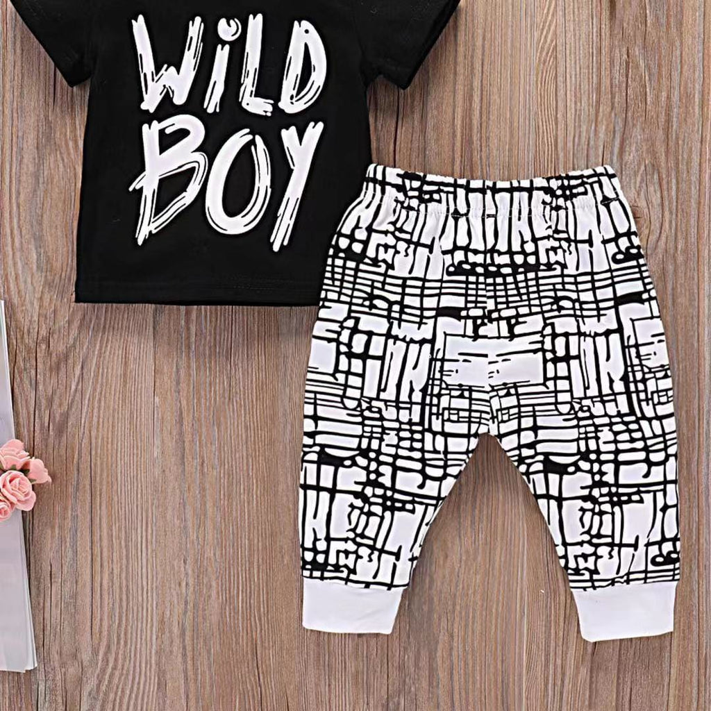 Baby Boy Alphabet Short Sleeve Cotton Set