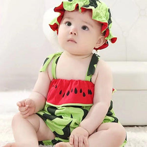 Baby watermelon sleeveless jumpsuit + watermelon cap two-piece suit