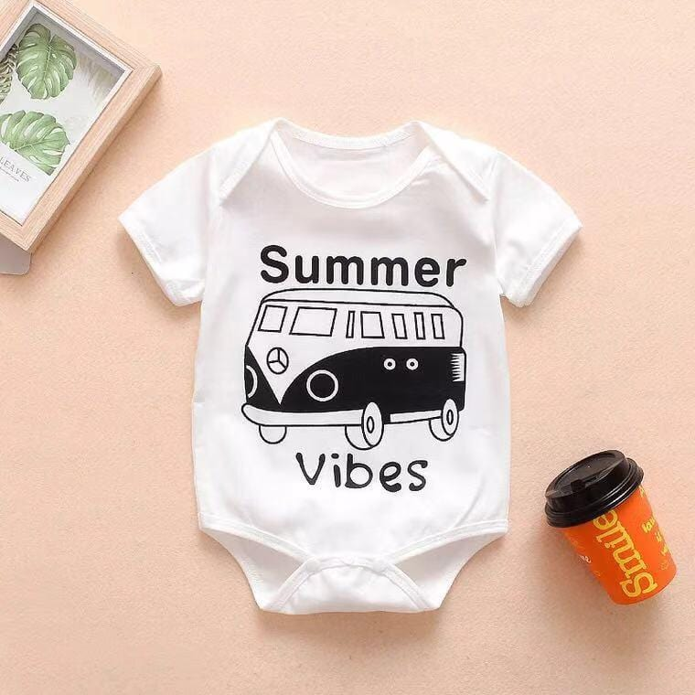 Baby bus print tight jumpsuit