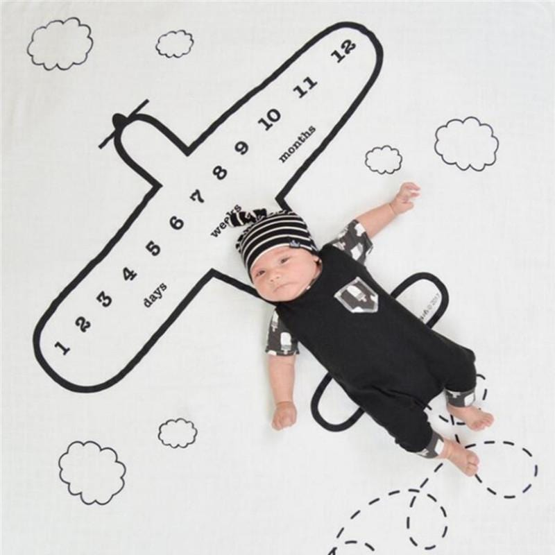 Plane Print Monthly Baby Milestone Blanket Photography Background Prop
