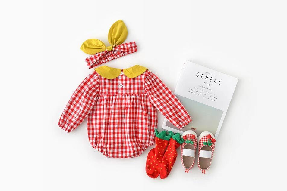 Baby Girl Cherry Cotton Linen Long Sleeve Jumpsuit + Headband Two Piece Set