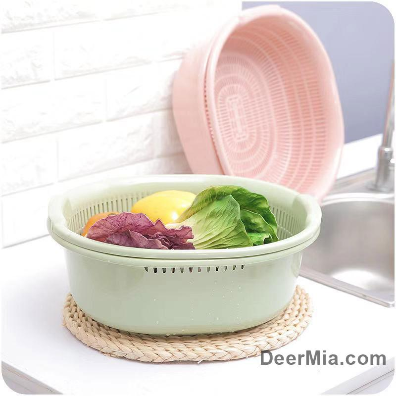 Large double vegetable and fruit drain basket-homeware