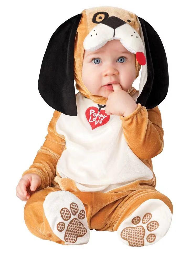 Baby long sleeves plus velvet cute animal styling big party
