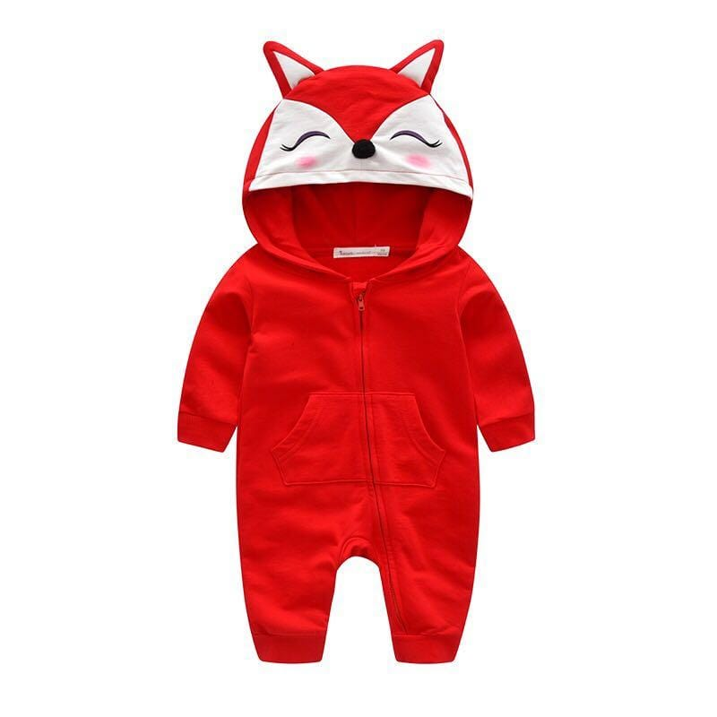 Fox baby animal hooded jumpsuit