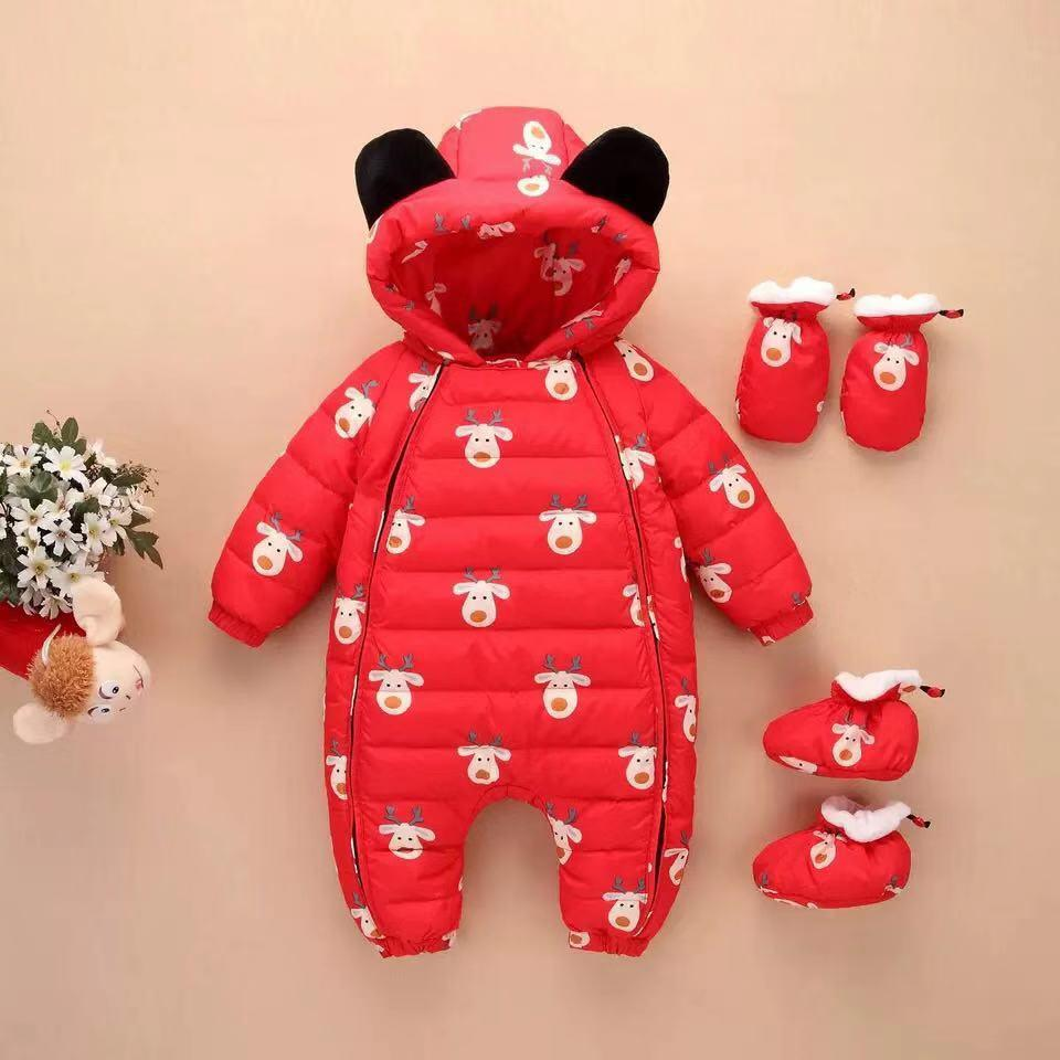 Christmas baby long-sleeved variety of color velvet jumpsuit down jacket