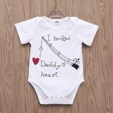 I Hooked Daddy's Heart Letter Short-sleeve Bodysuit