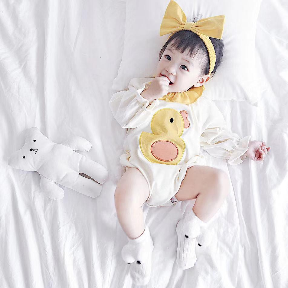 Baby Girl Cute Animal Long Sleeve Cotton Bodysuit + Headband Two Piece Set