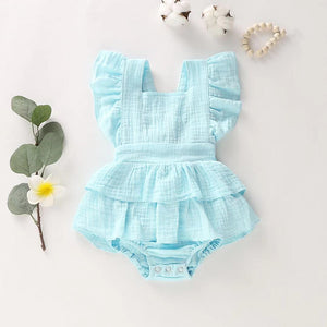 Baby Ruffled Solid Layered Design Bodysuit