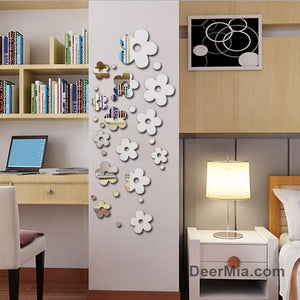 14 Pcs Flowers 3D Mirror Wall Stickers-Houseware