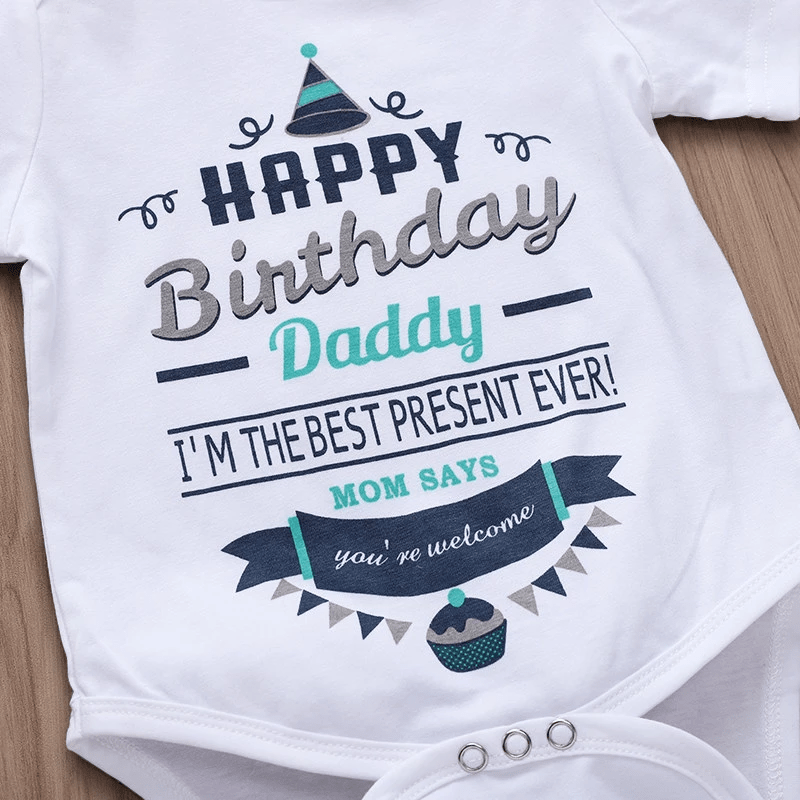 Baby Short Sleeve Happy Birthday Letter Bodysuit