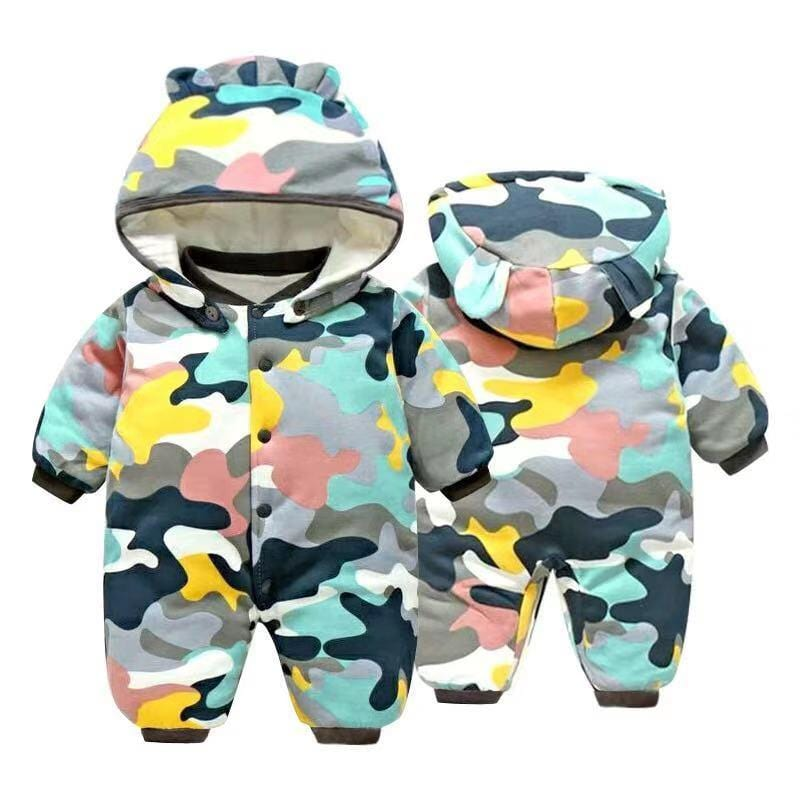 Baby camouflage hooded long sleeve plus velvet jumpsuit