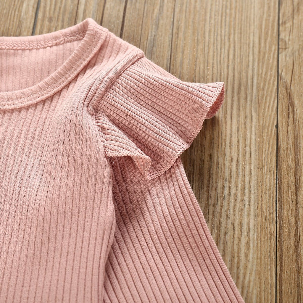 Baby Girl Pink Ruffled Shoulder Bodysuit and Striped Belted Pants