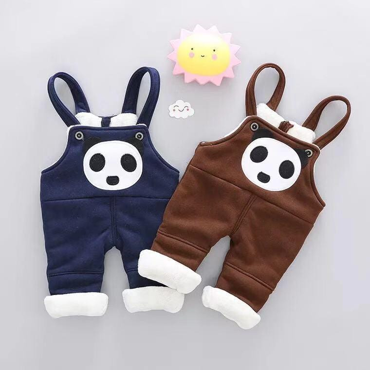 Baby panda and velvet strap trousers