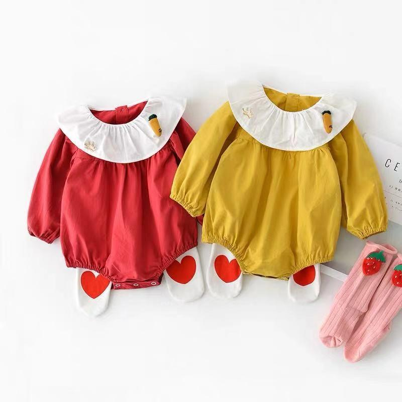 Baby Girl Carrot Long Sleeve Cotton Jumpsuit