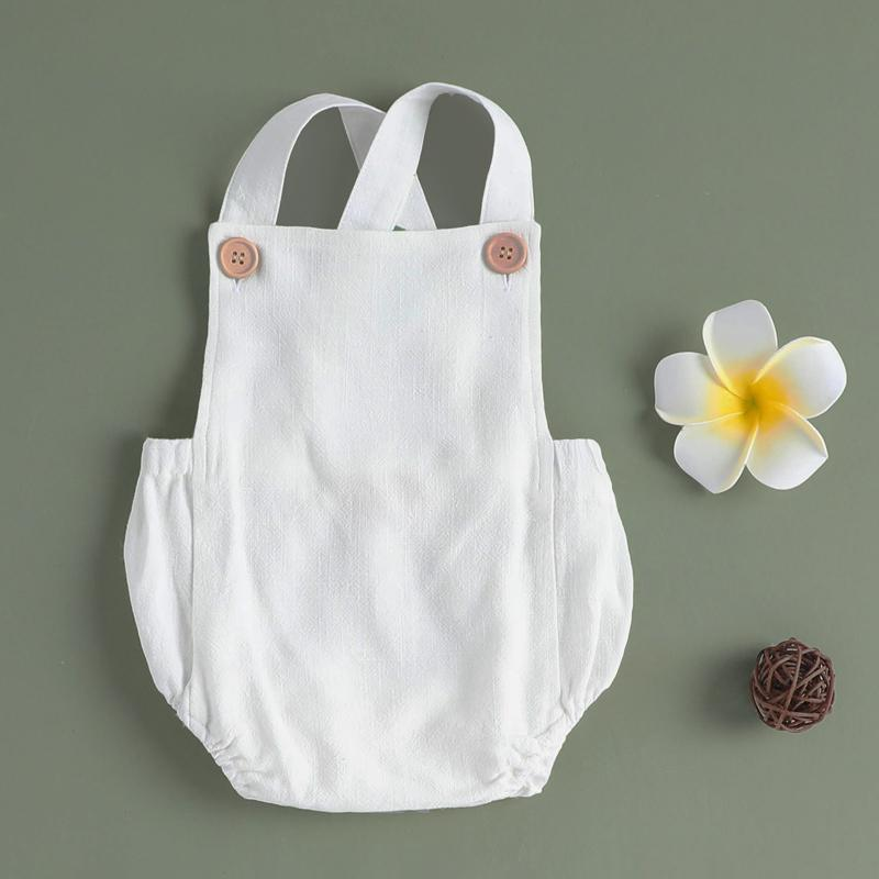 Baby Linen Solid Overalls Backless Romper