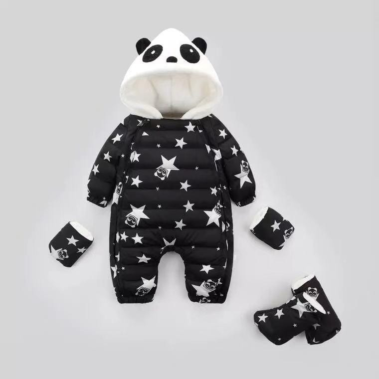 Panda thick white duck down jacket jumpsuit