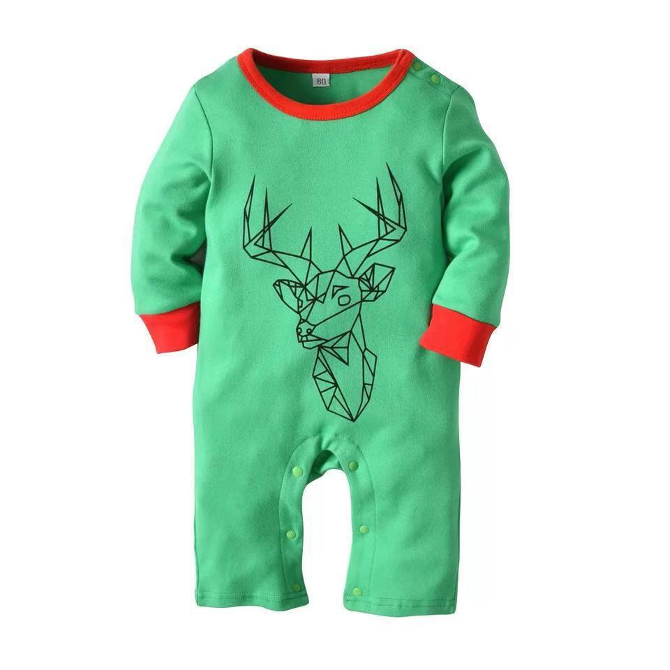 Christmas long sleeve cotton elk jumpsuit