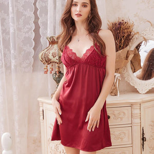 V-neck lace silk suspender nightdress