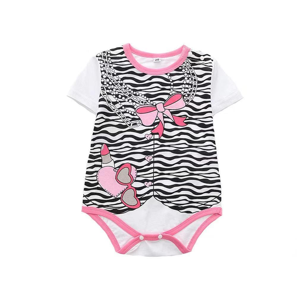 Baby Girl Short Sleeve Cartoon Cotton Two-Piece Set
