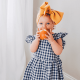 Backless Checkered Dress with Bow