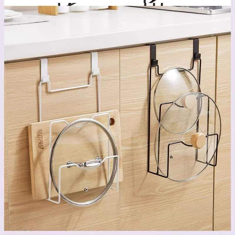 No drilling wrought iron lid storage rack