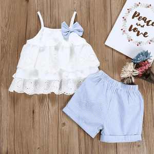 Ruffle Cami Top and Striped Shorts Set