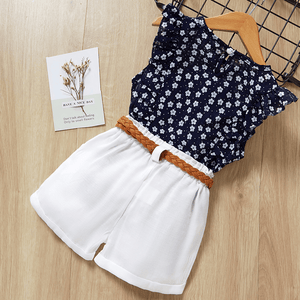 Floral Ruffle Blouse and Shorts Set