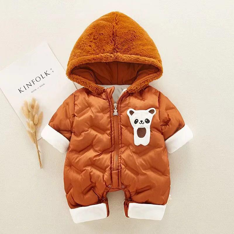 Baby cute alpaca animal long sleeve hooded down jacket jumpsuit