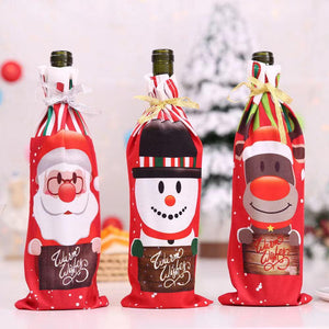 3PCS Christmas Snowman Santa Claus Wine Bottle Cover