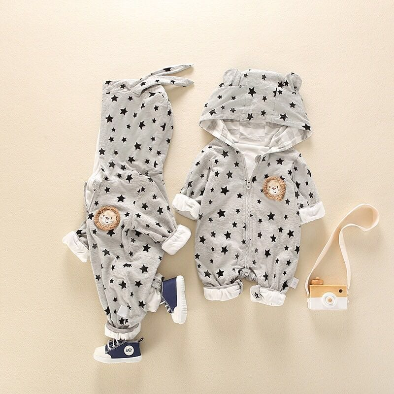 Baby lion hooded long sleeve jumpsuit