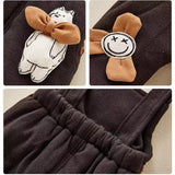 Baby cute polar bear long sleeve hooded down jacket jumpsuit