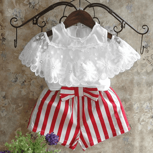 Flounced Blouse and Striped Shorts Set