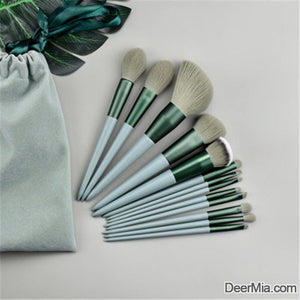 13pcs Duo-fiber Makeup Brush Set With Bag