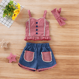 Baby/ Toddler Girl's Plaid Lace Decor Strap Top, Color Blocked Shorts and Bow Headband